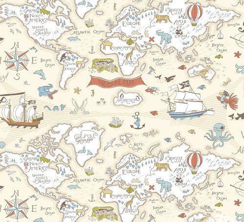 Papel de Parede Infantil Kan Tai  TNT Coleção Baby Charmed Mapa Mundi Rosê, Creme