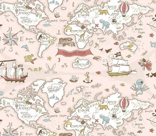 Papel de Parede Infantil Kan Tai  TNT Coleção Baby Charmed Mapa Mundi Creme, Branco, Rosa