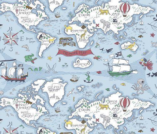 Papel de Parede Infantil Kan Tai  TNT Coleção Baby Charmed Mapa Mundi Azul, Branco