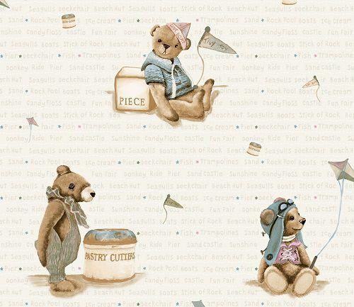 Papel de Parede Infantil Kan Tai  TNT Coleção Baby Charmed Ursos Verde claro, Dourado, Marrom, Azul