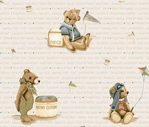 Papel de Parede Infantil Kan Tai  TNT Coleção Baby Charmed Ursos Bege, Azul, vermelho