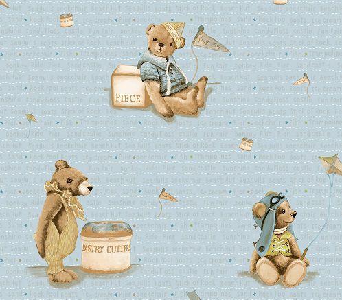 Papel de Parede Infantil Kan Tai  TNT Coleção Baby Charmed Ursos Azul, Dourado, Marrom
