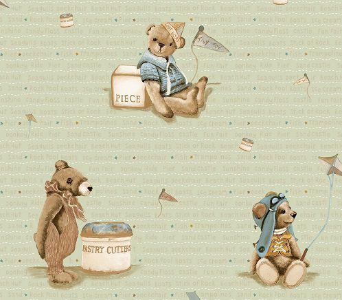 Papel de Parede Infantil Kan Tai  TNT Coleção Baby Charmed Ursos Verde, Dourado, Marrom
