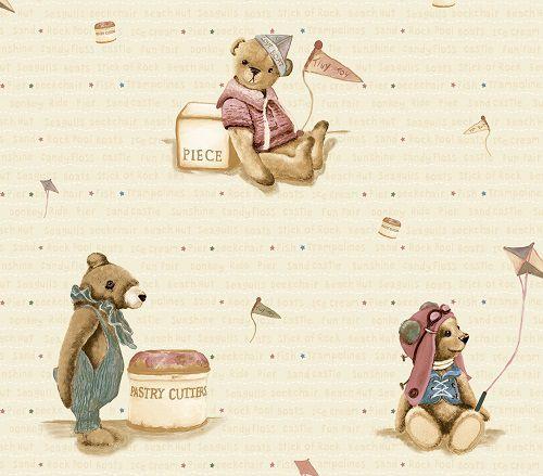 Papel de Parede Infantil Kan Tai  TNT Coleção Baby Charmed Ursos Creme, Rosa, Marrom