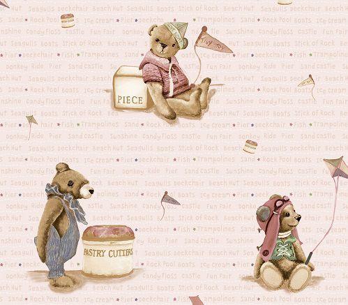 Papel de Parede Infantil Kan Tai  TNT Coleção Baby Charmed Ursos Rosê, Dourado, Rosa, Marrom