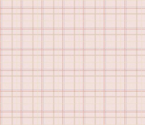 Papel de Parede Infantil Kan Tai  TNT Coleção Baby Charmed Xadrez Creme, Rosa, Dourado, Vermelho, Violeta