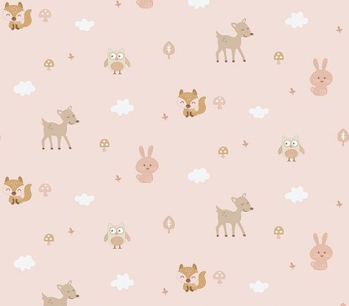 Papel de Parede Infantil Kan Tai  TNT Coleção Baby Charmed Safari Rosa, Branco, Marrom