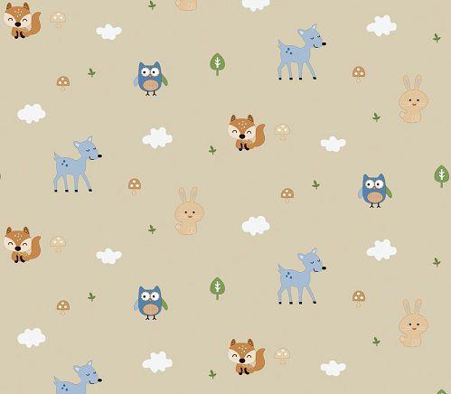 Papel de Parede Infantil Kan Tai TNT Coleção Baby Charmed Safari Bege, Azul, Branco