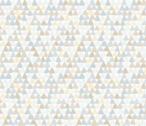 Papel de Parede Infantil Kan Tai  TNT Coleção Baby Charmed Geométrico Creme, Marrom, Amarelo