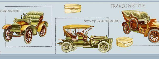 Faixa infantil Kan Tai TNT Coleção Baby Charmed Carros Antigos Azul, Verde, Amarelo