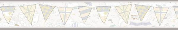 Faixa infantil Kan Tai  TNT Coleção Baby Charmed Mapa Mundi Off White, Cinza, Amarelo