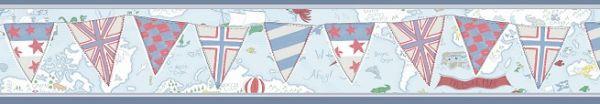 Faixa infantil Kan Tai TNT Coleção Baby Charmed Mapa Mundi Azul, Creme, Cinza