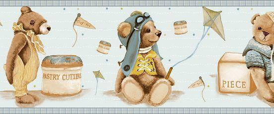 Faixa infantil Kantai TNT Coleção Baby Charmed Ursos Azul, Bege, Marrom
