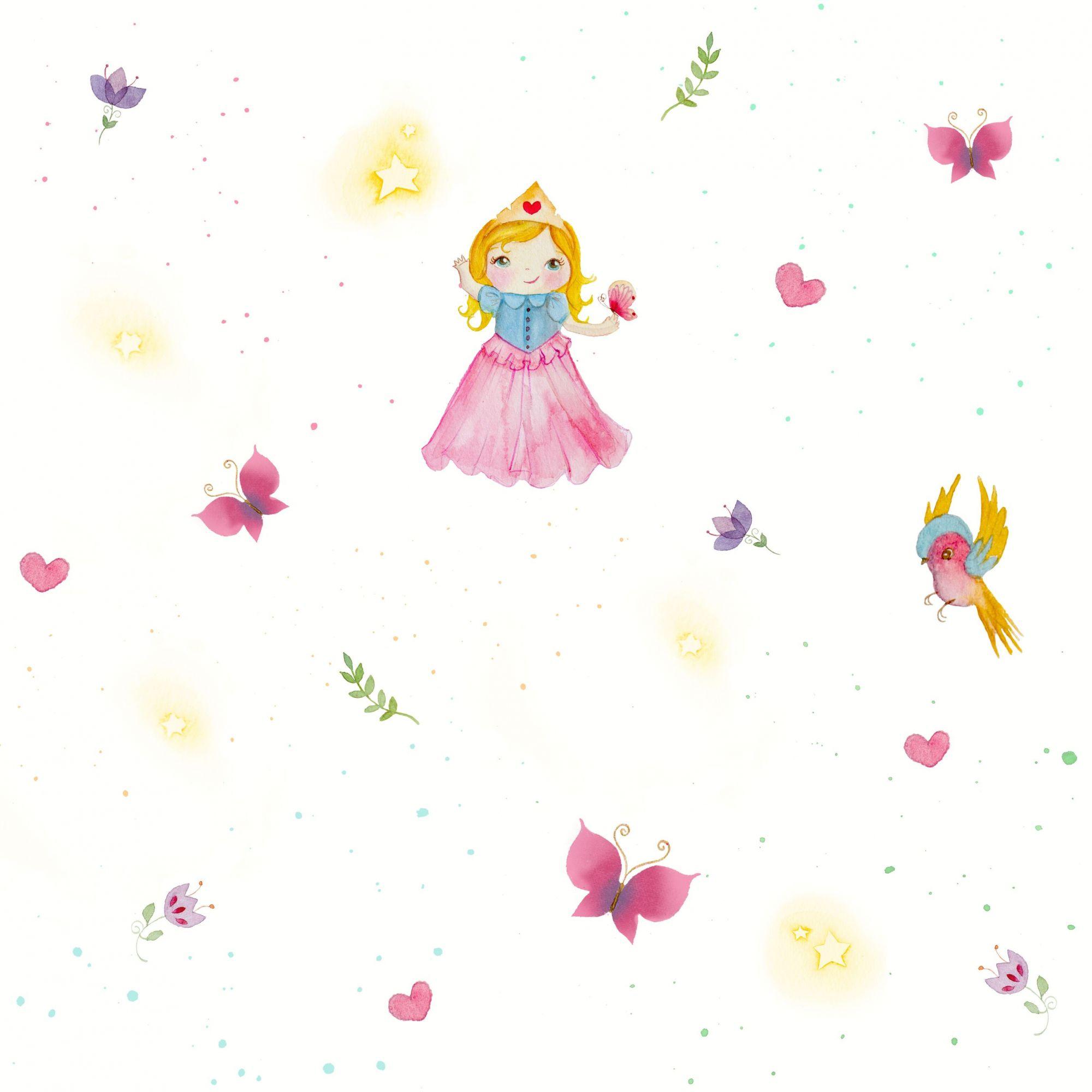 Papel de Parede Infantil Bobinex Coleção Brincar Fadas Amarelo, Rosa, Azul