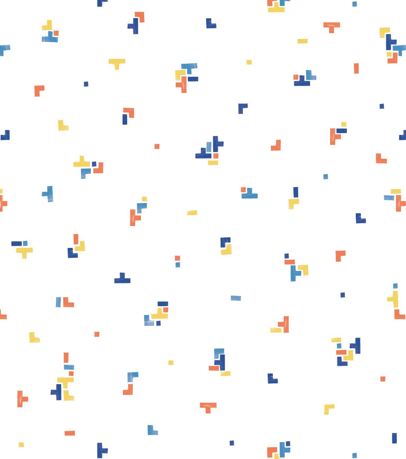 Papel de Parede Infantil Bobinex Vinílico Coleção Brincar Geométrico Branco, Azul, Amarelo, Vermelho