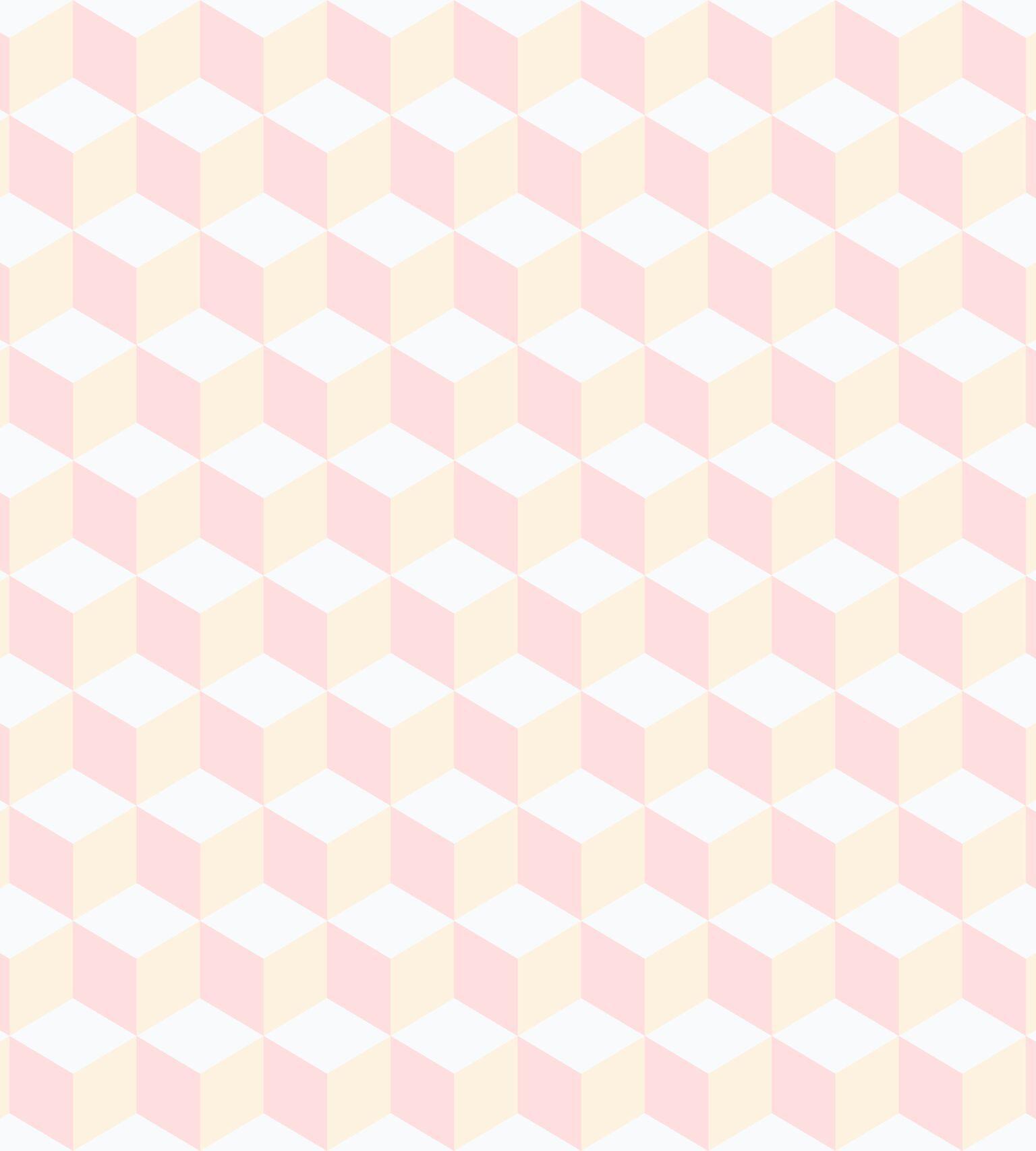 Papel de Parede Infantil Bobinex Vinílico Coleção Brincar Geométrico Rosa, Bege, Branco