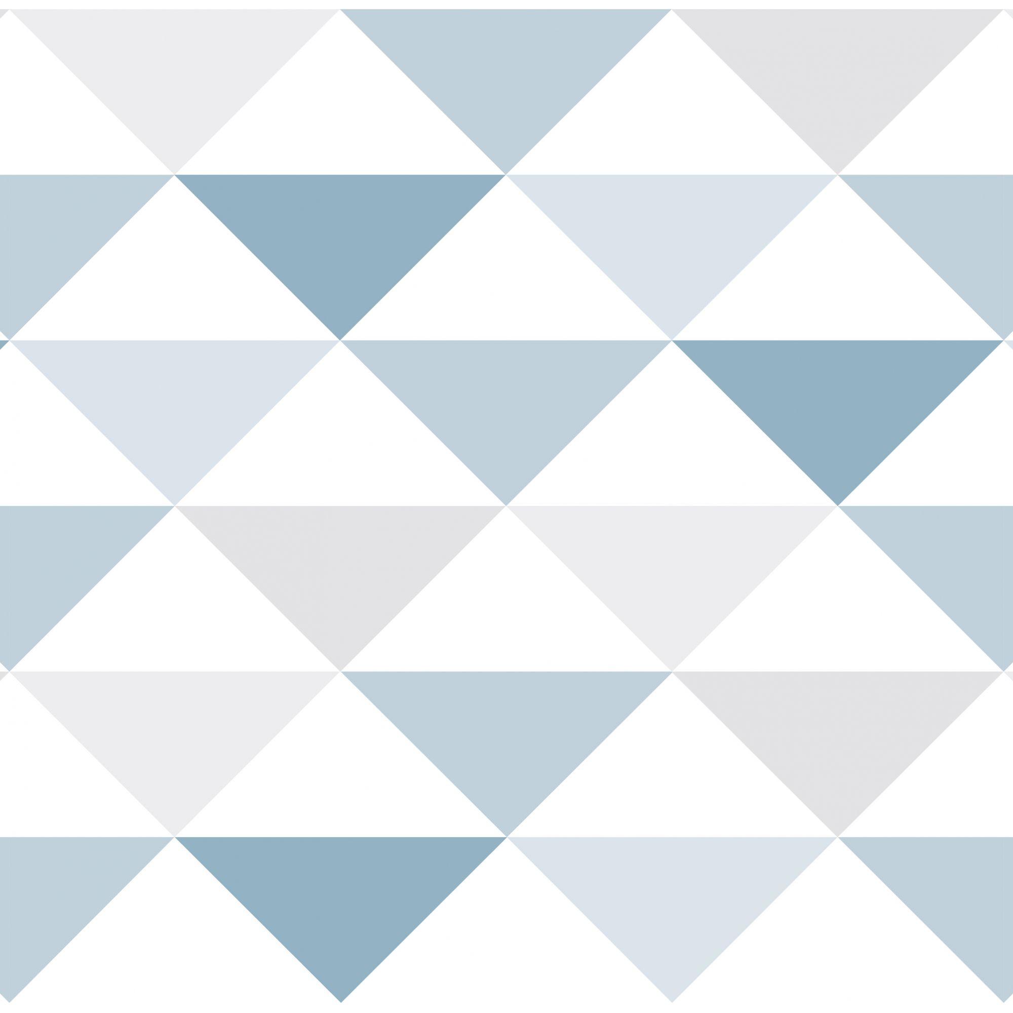 Papel de Parede Infantil Bobinex Vinílico Coleção Brincar Geométrico Triângulo Azul, Cinza, Branco
