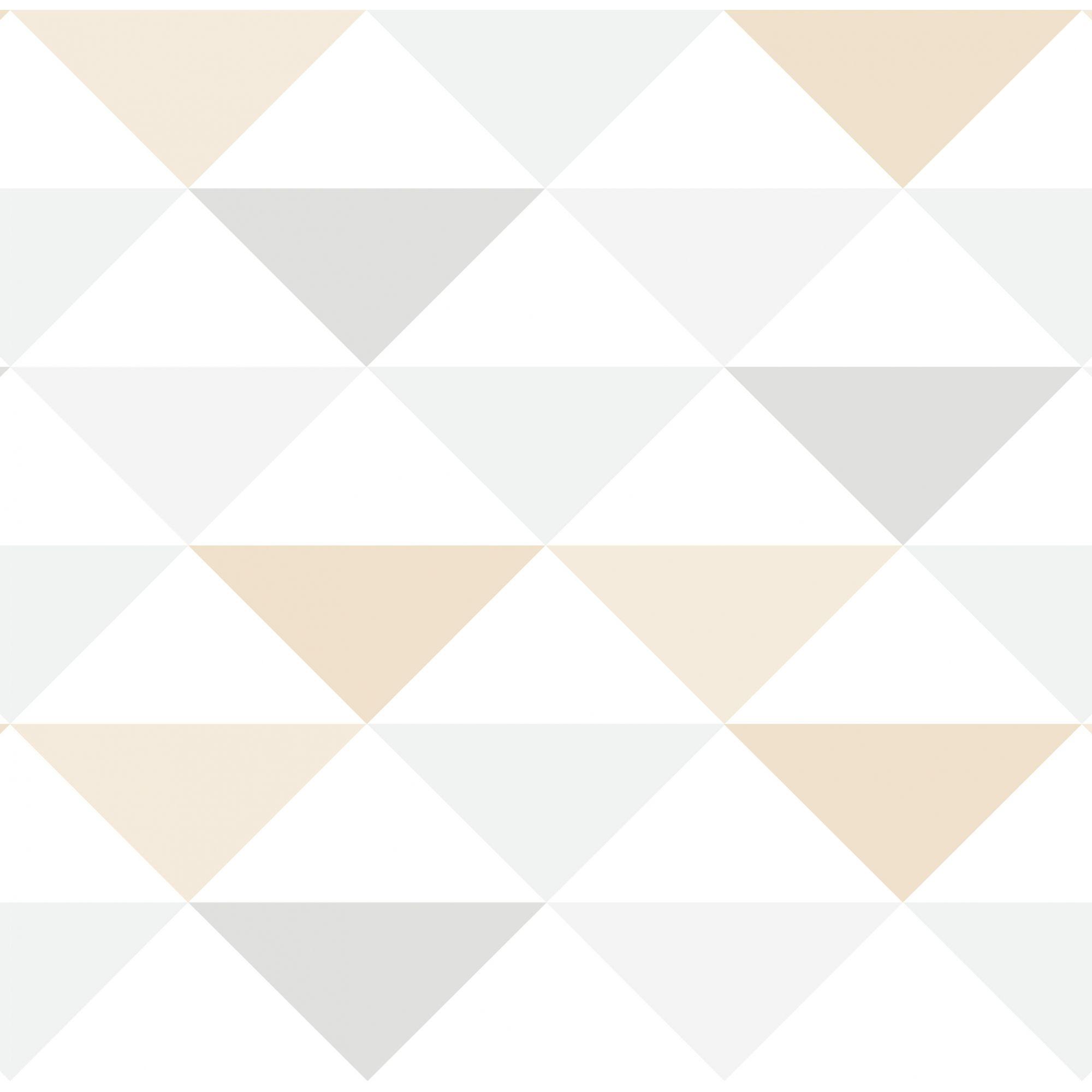 Papel de Parede Infantil Bobinex Coleção Brincar Geométrico Triângulo Bege, Cinza, Branco