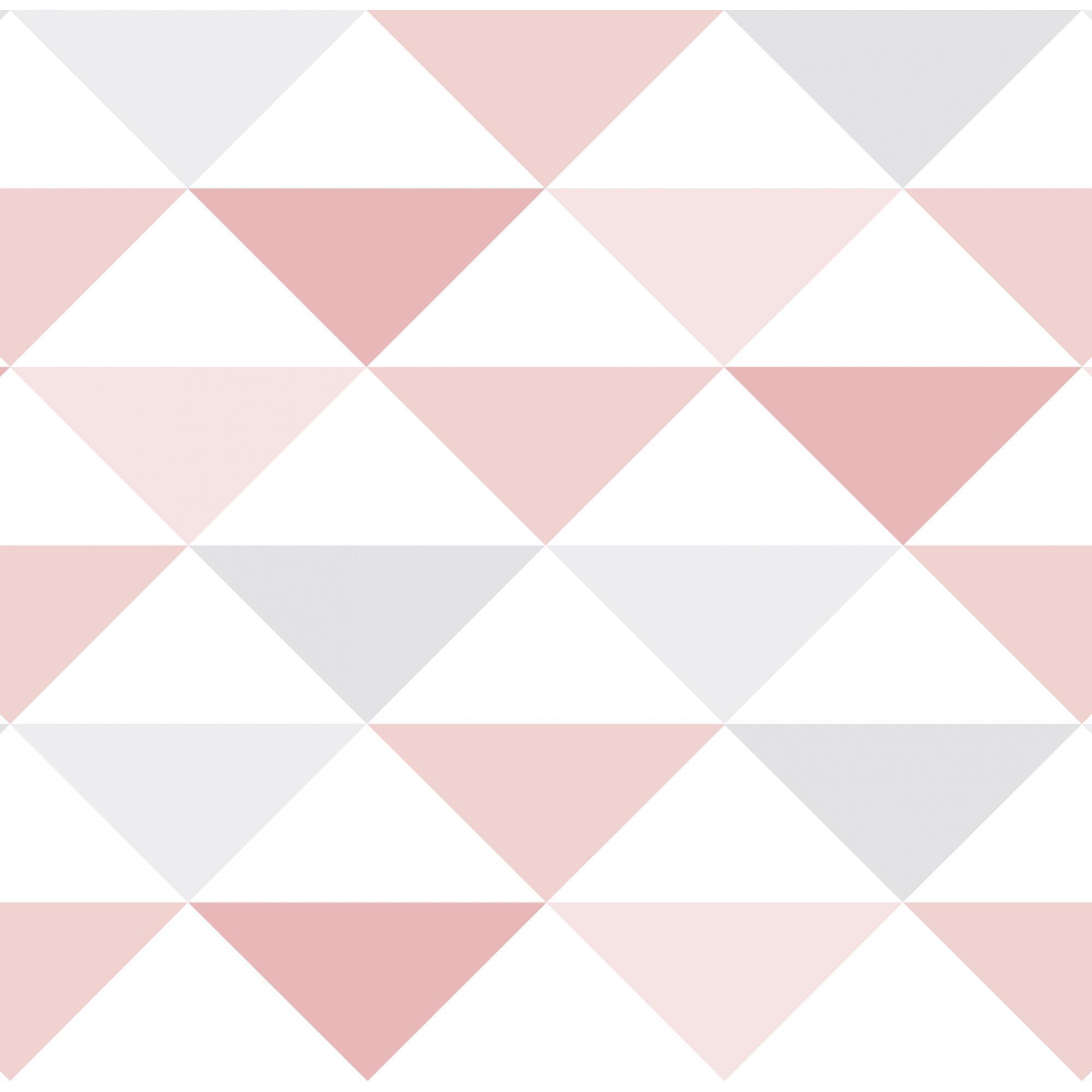 Papel de Parede Infantil Bobinex Coleção Brincar Geométrico Triângulo Rosa, Cinza, Branco