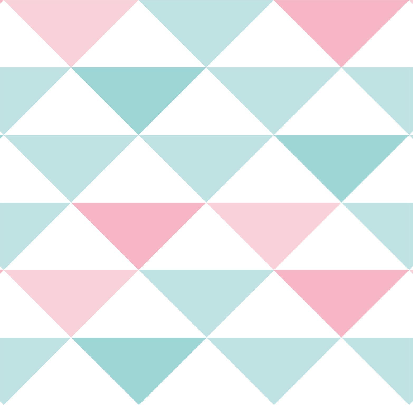 Papel de Parede Infantil Bobinex Vinílico Coleção Brincar Geométrico Triângulo Verde, Rosa, Branco