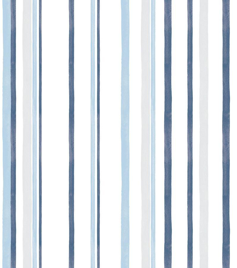 Papel de Parede Infantil Bobinex Vinílico Coleção Brincar Listrado Azul, Cinza, Branco