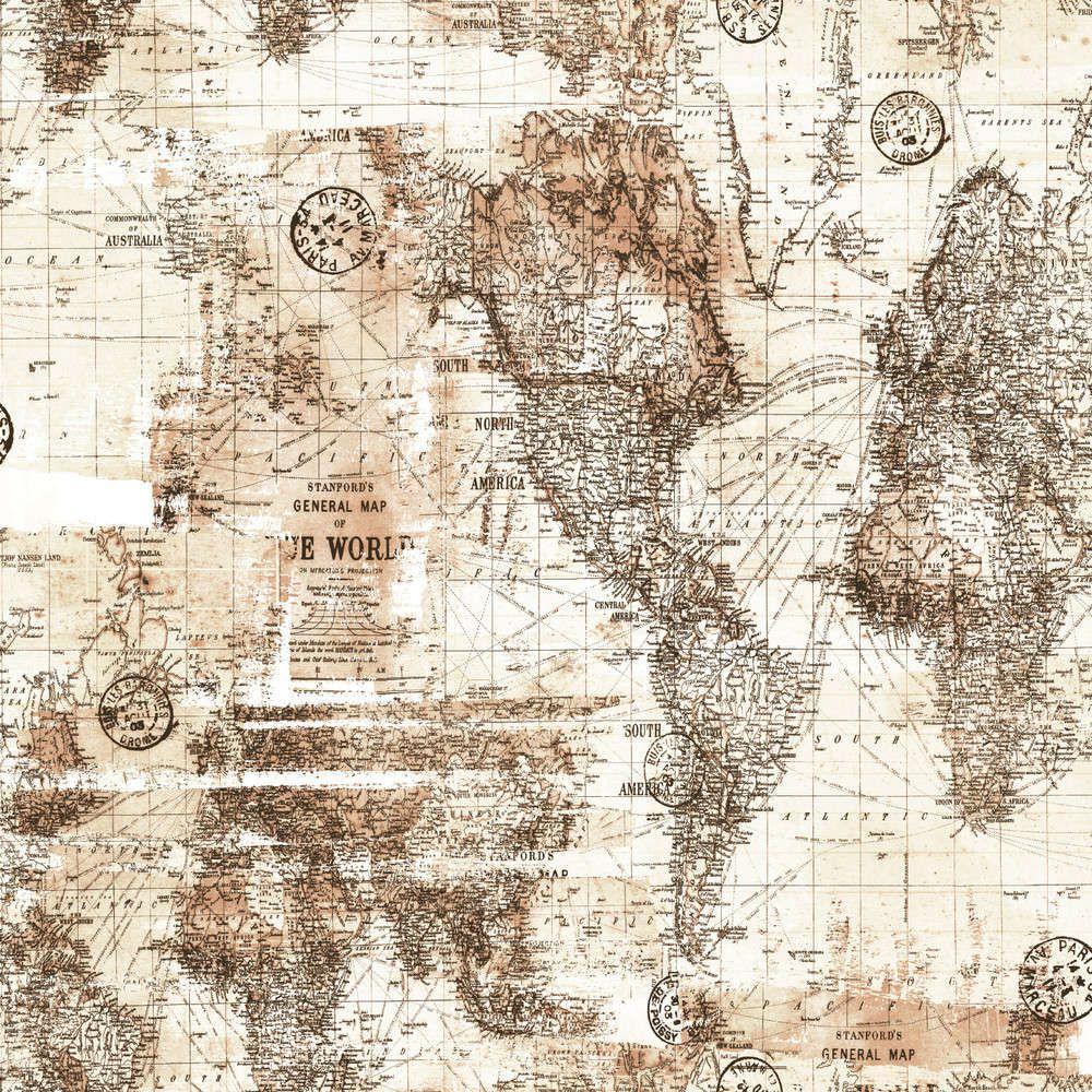 Papel de Parede Infantil Bobinex Coleção Brincar Mapa Mundi Bege