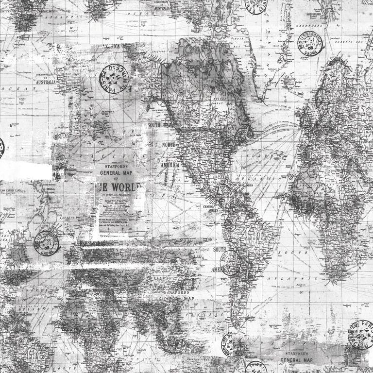 Papel de Parede Infantil Bobinex Coleção Brincar Mapa Mundi Cinza