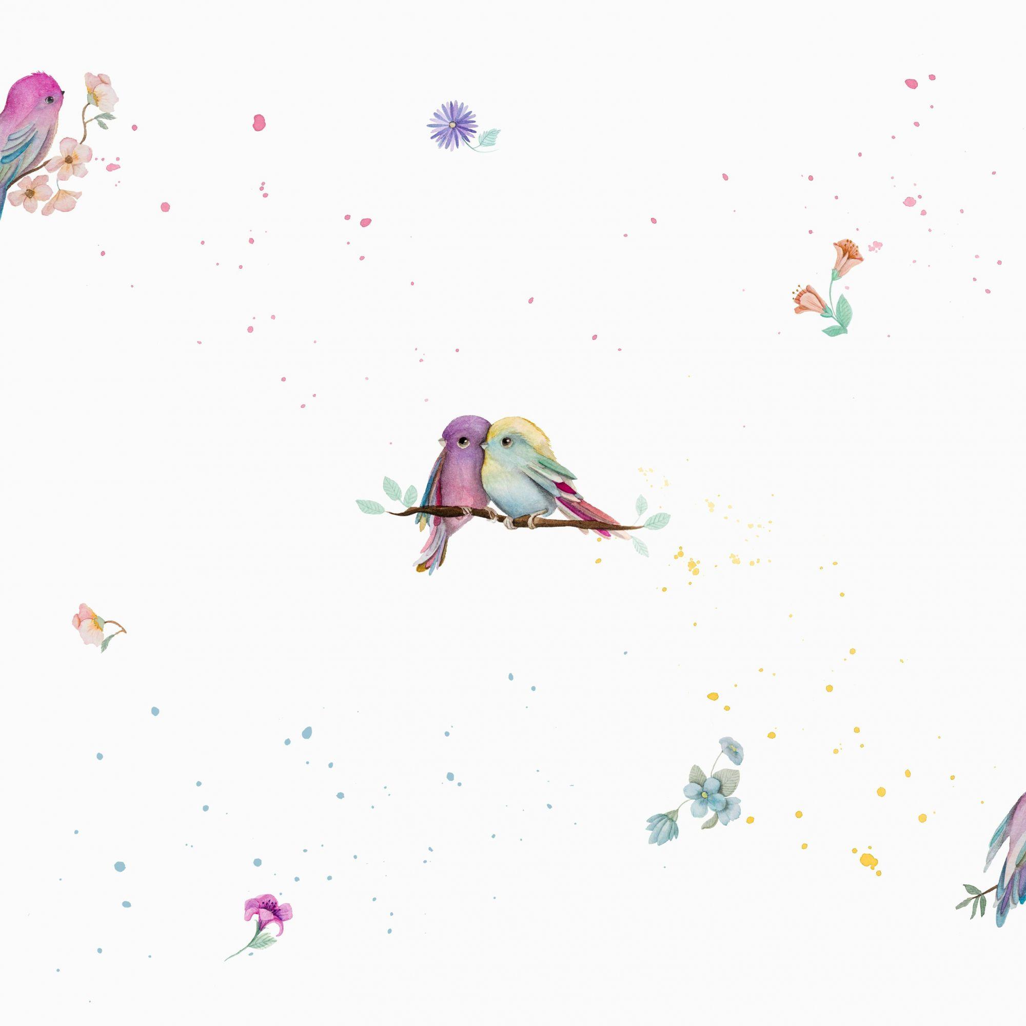 Papel de Parede Infantil Bobinex Vinílico Coleção Brincar Pássaros Creme, Lilás, Azul