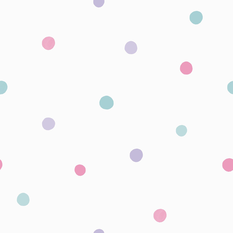 Papel de Parede Infantil Bobinex Coleção Brincar Poá Branco, Rosa, Lilás, Verde