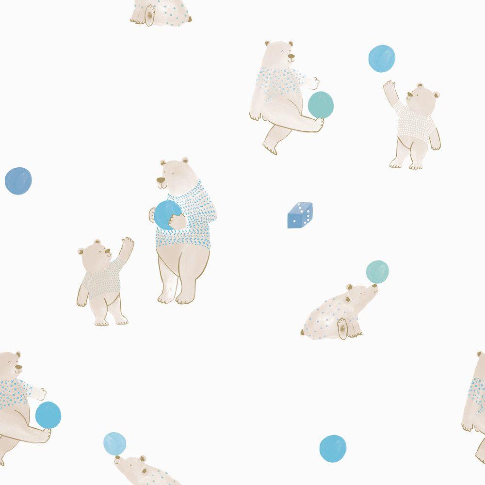 Papel de Parede Infantil Bobinex Vinílico Coleção Brincar Ursos Creme, Bege, Azul, Verde