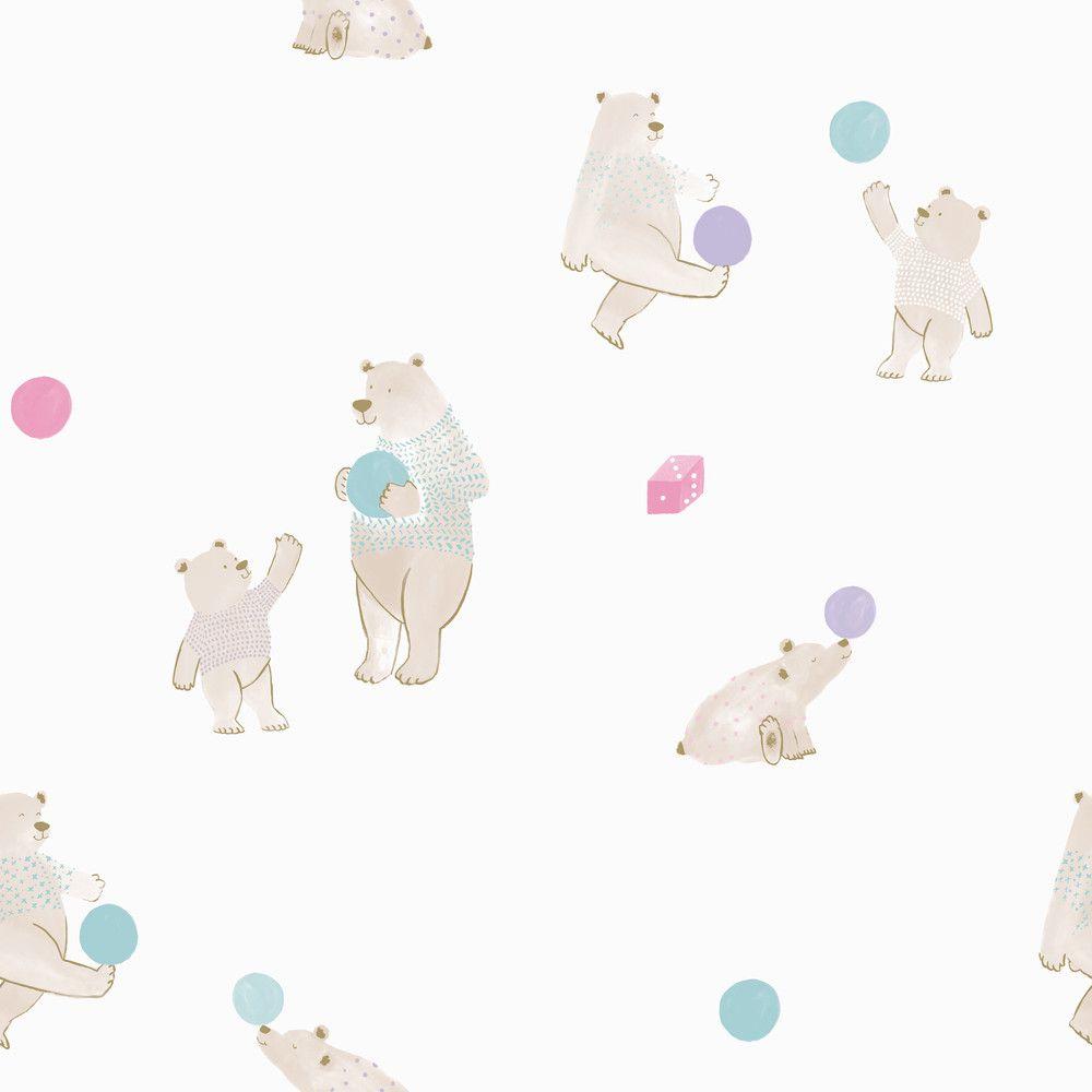 Papel de Parede Infantil Bobinex Vinílico Coleção Brincar Ursos Branco, Bege, Verde, Lilás