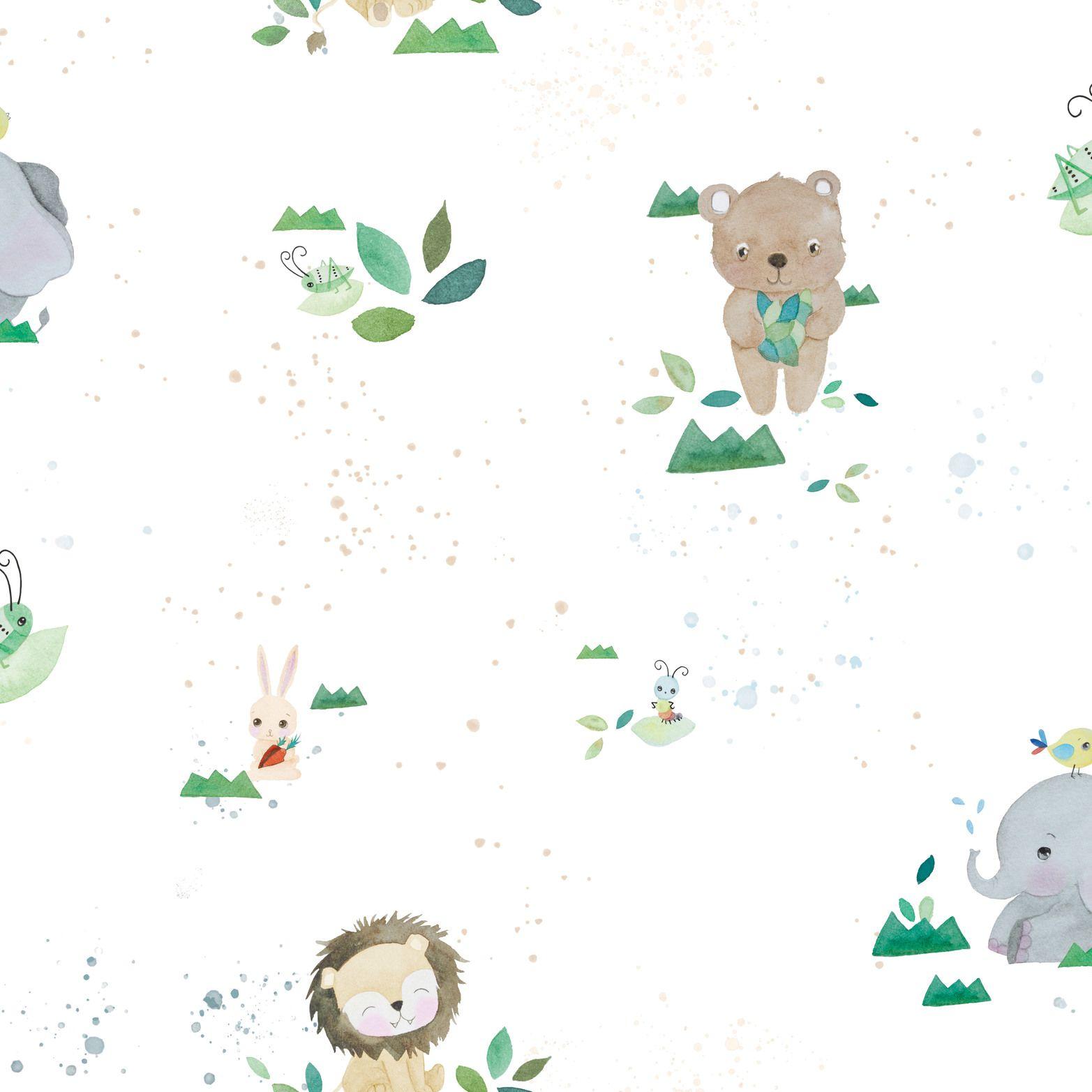 Papel de Parede Infantil Bobinex Coleção Brincar Safari Branco, Verde, Marrom