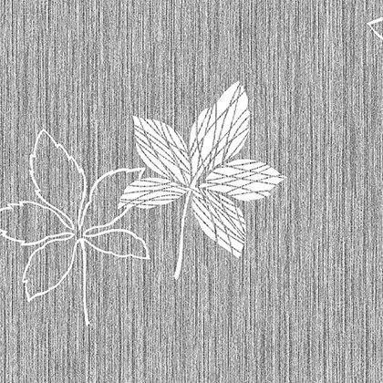 Papel de Parede Vinílico Coleção Bolero Texturizado Folhas Tons Cinza, Branco