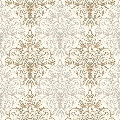 Papel de Parede Importado Coleção Bolero Colonial Bege Claro, Dourado, Prata