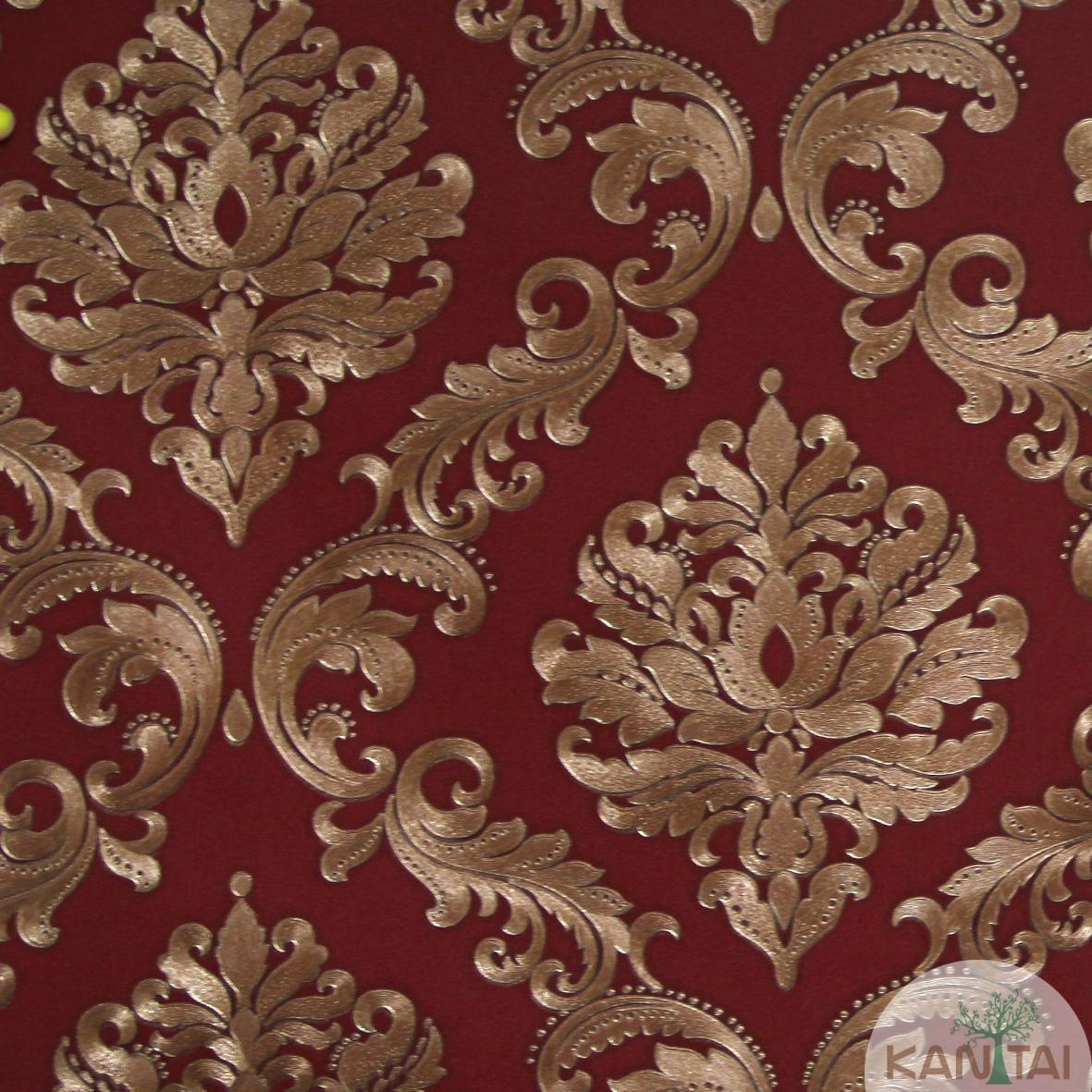 Papel de Parede Importado Kan Tai  Vinílico Coleção Grace Adamascado Vermelho, Bronze, Brilho
