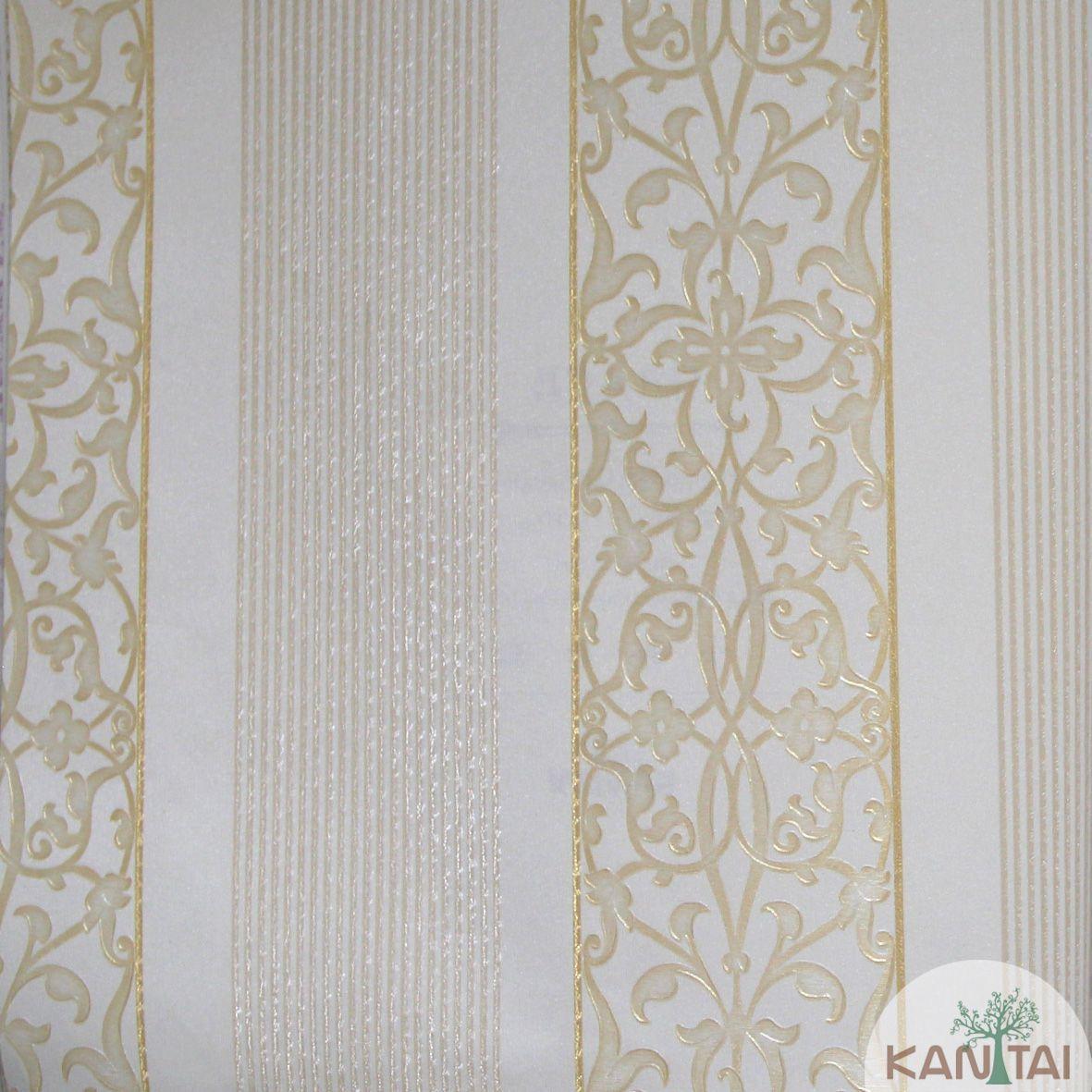 Papel de Parede Importado Kan Tai  Vinílico Coleção Grace Arabesco Listras Vermelho, Dourado, Brilho