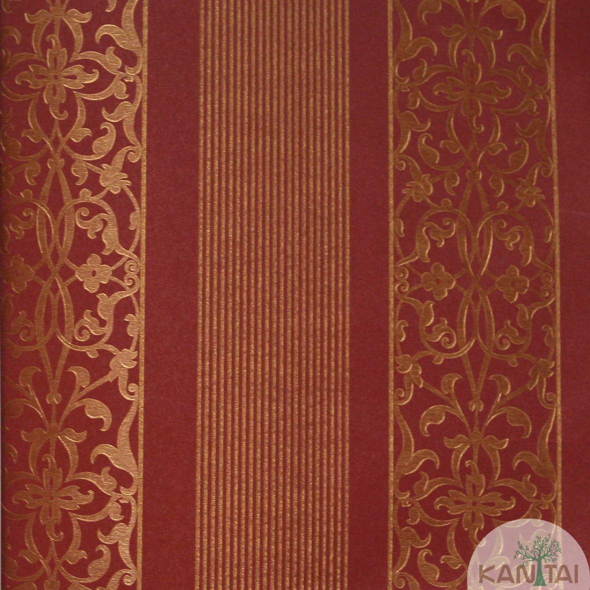 Papel de Parede Importado  Kan Tai  Vinílico Coleção Grace Arabesco Listras Vermelho, Dourado