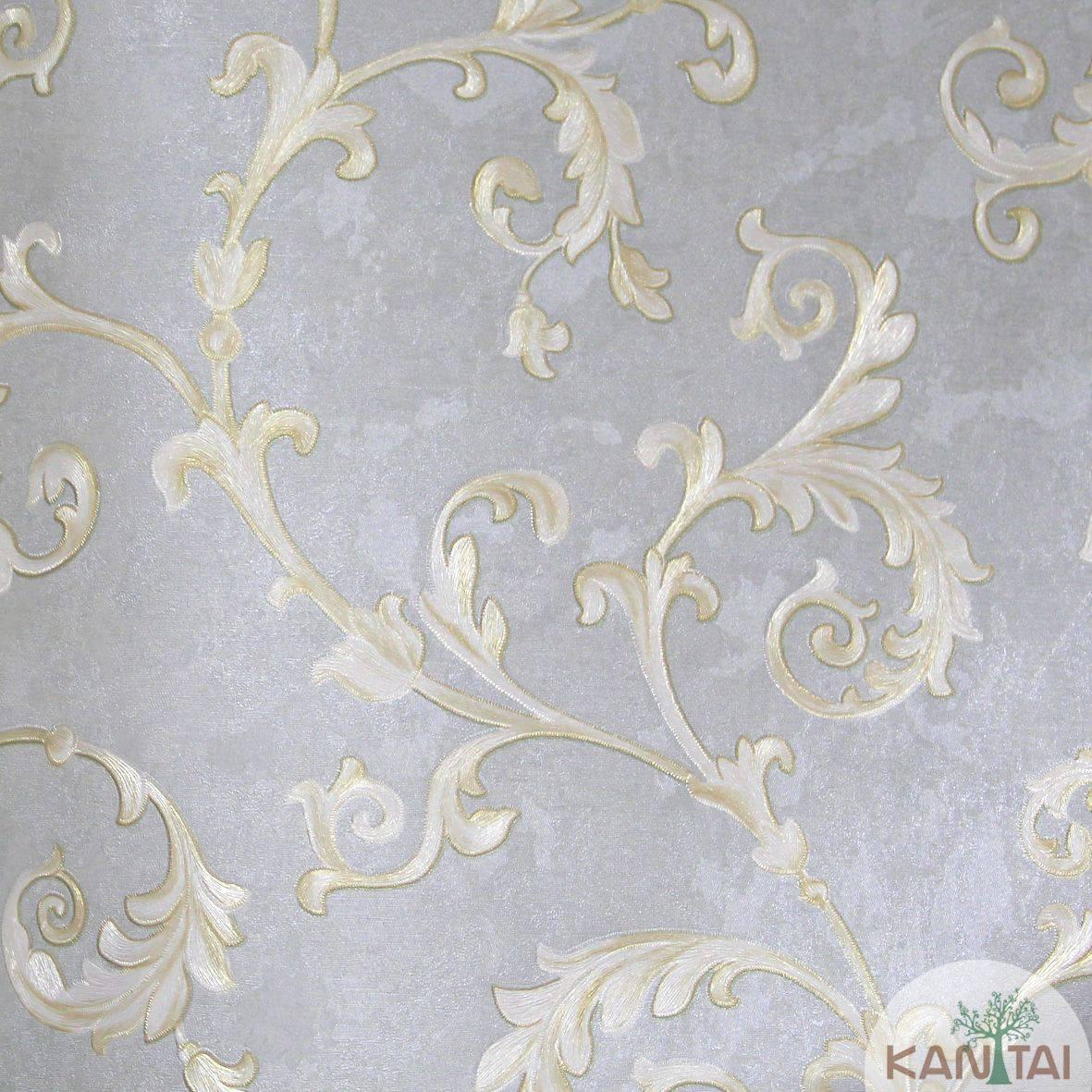 Papel de Parede Importado  Kan Tai  Vinílico Coleção Grace Arabesco Verde Claro, Dourado, Prata, Leve brilho