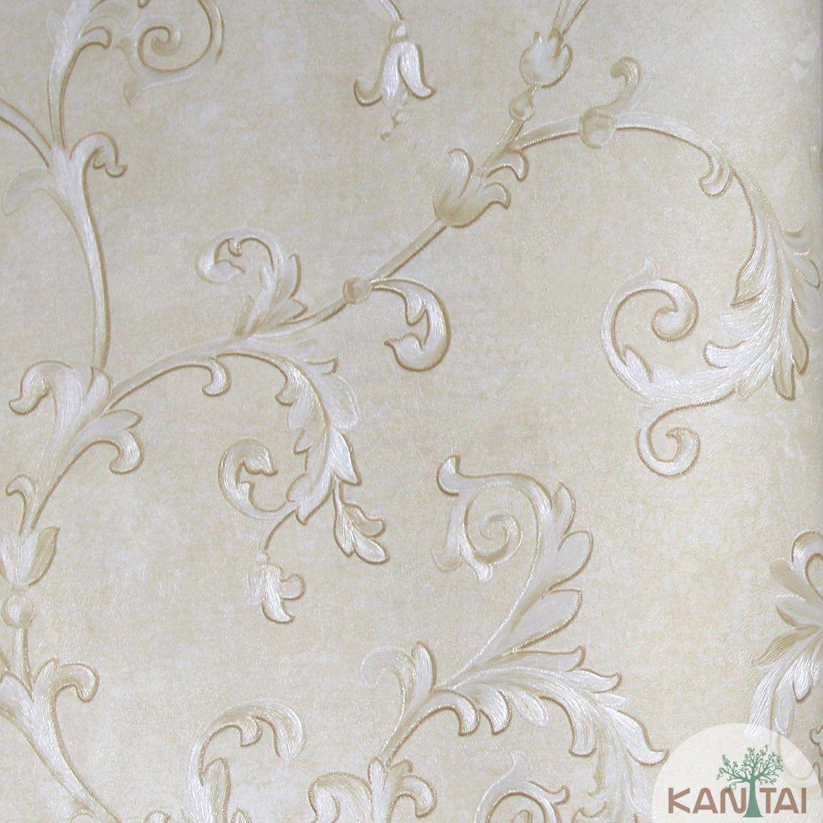 Papel de Parede Importado Kan Tai  Vinílico Coleção Grace Arabesco Bege, Dourado, Prata, Brilho