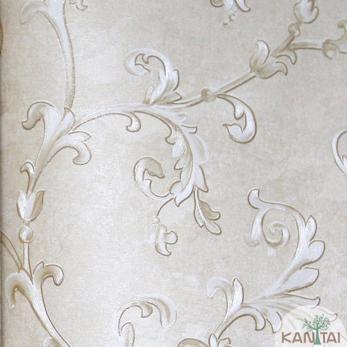 Papel de Parede Importado Kan Tai  Vinílico Coleção Grace Arabesco Bege, Dourado, Prata, Leve brilho