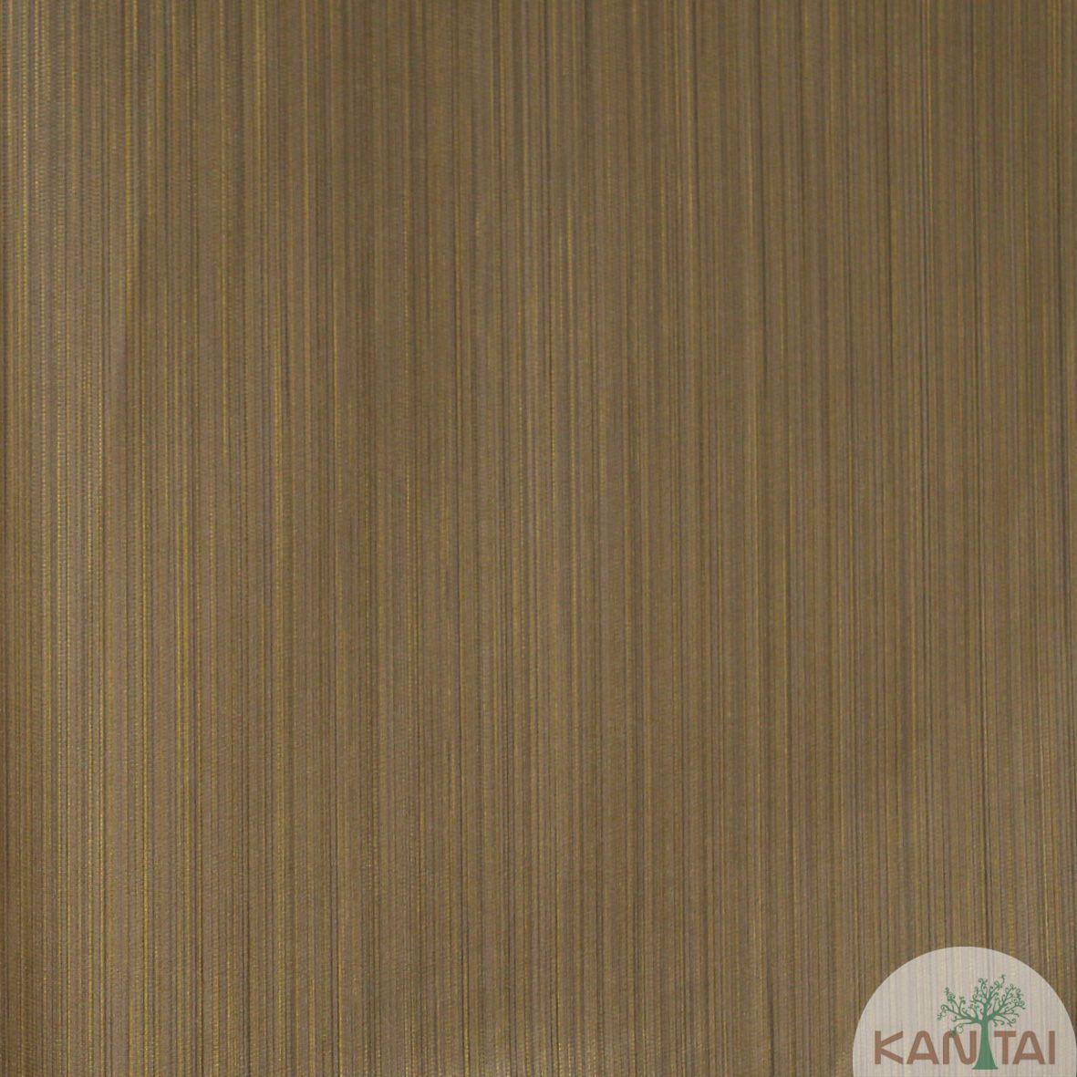 Papel de Parede Importado  Kan Tai  Vinílico Coleção Grace Textura Listras Finas Marrom, Dourado