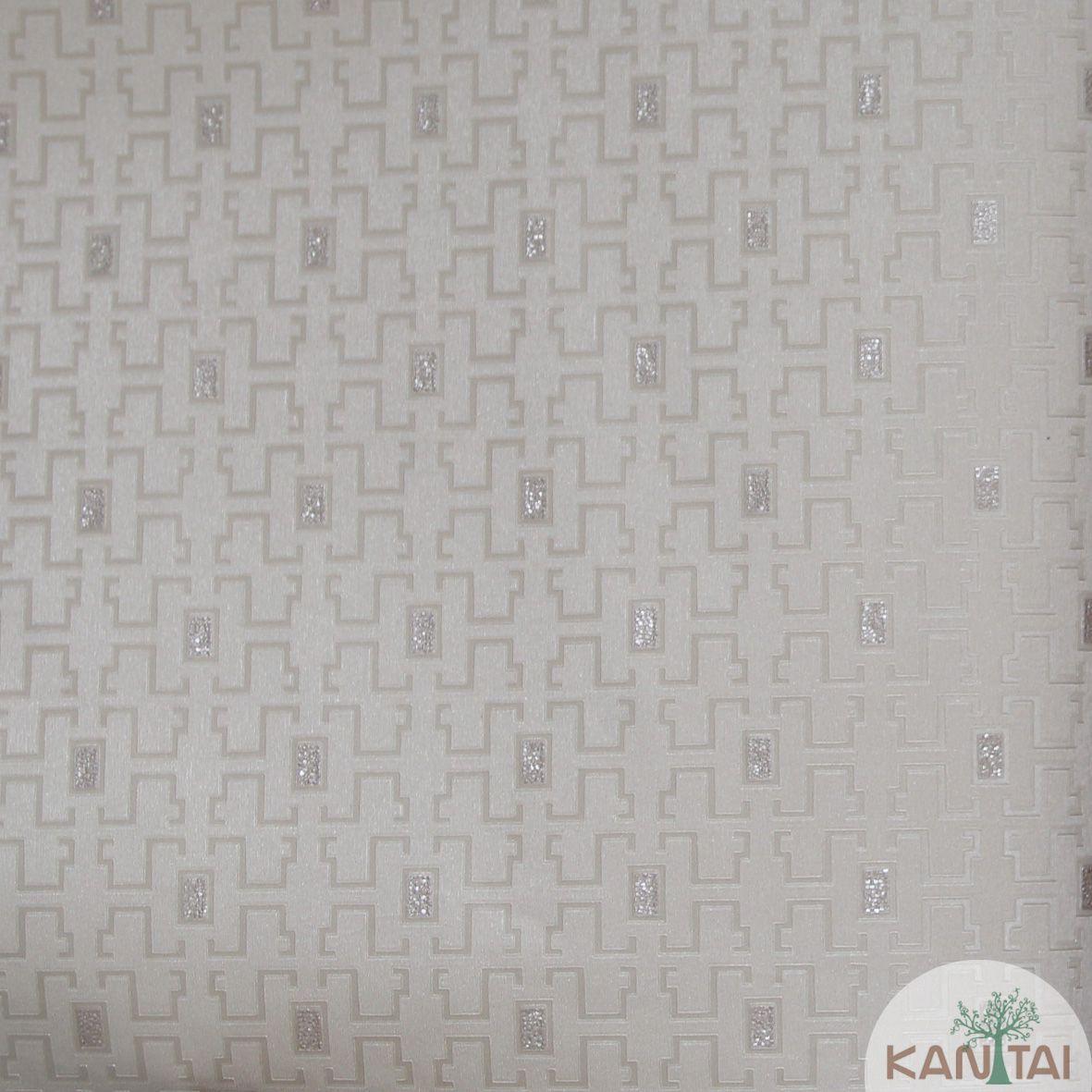 Papel de Parede Importado Kan Tai  Vinílico Coleção Grace Geométrico Labirinto Bege escuro, Prata, Brilho