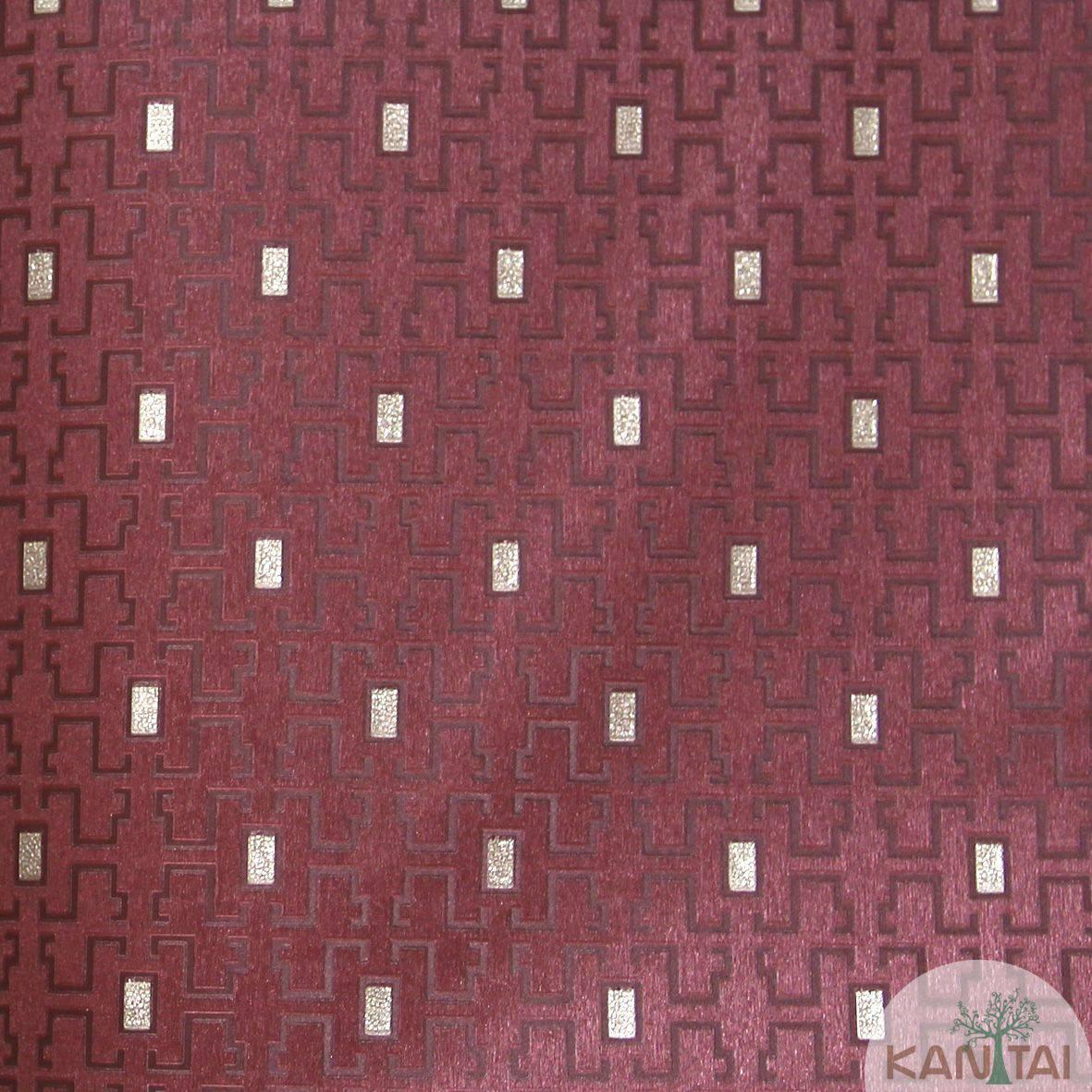 Papel de Parede Importado Kan Tai  Vinílico Coleção Grace Geométrico Labirinto Vermelho, Dourado, Brilho