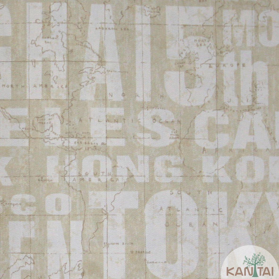 Papel de Parede Importado  Kan Tai  Vinílico Coleção Grace Cidades Bege, Creme