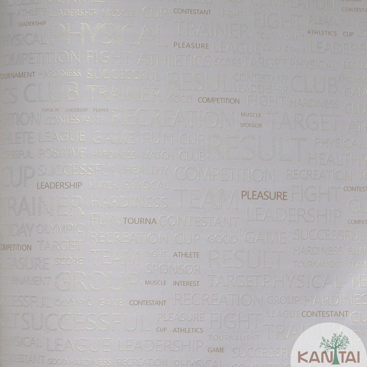 Papel de Parede Importado  Kan Tai  TNT Coleção Grace Palavras Off white, Dourado, Baixo relevo