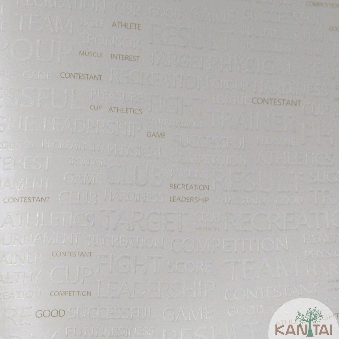 Papel de Parede Importado  Kan Tai TNT Coleção Grace Palavras Creme, Dourado, Baixo relevo