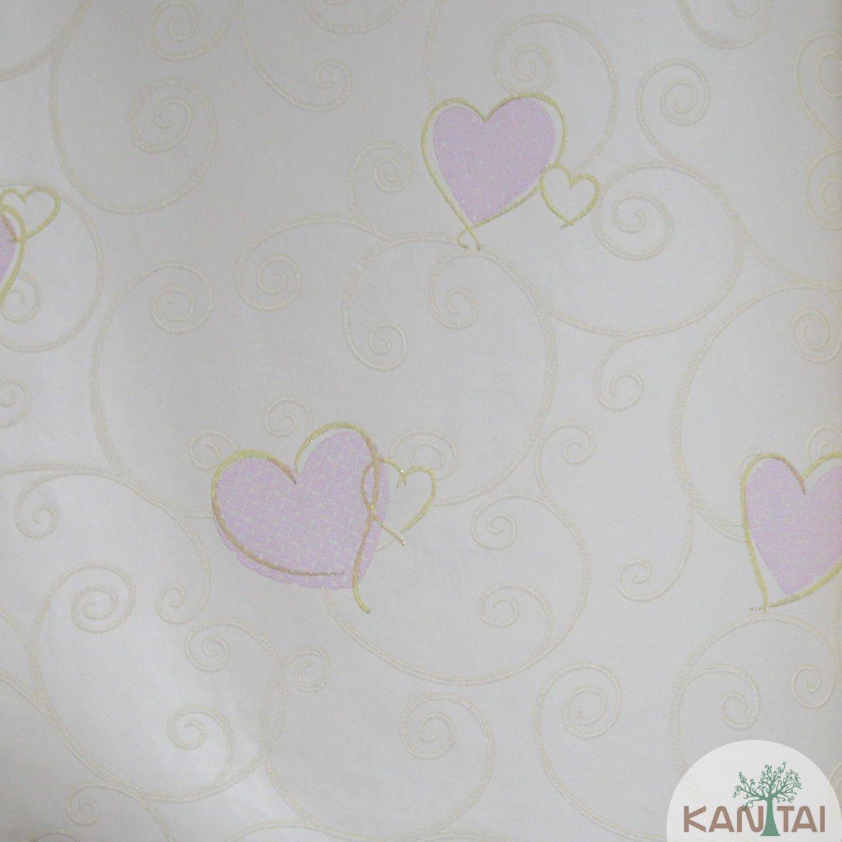Papel de Parede Importado Kan Tai  TNT Infantil Coleção Grace  Corações Creme, Rosa, Dourado, Baixo relevo