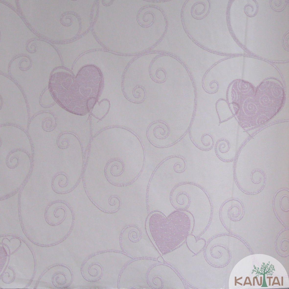 Papel de Parede Importado  Kan Tai  TNT Infantil Coleção Grace Corações Rosa