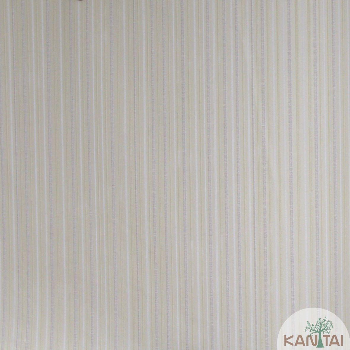 Papel de Parede Importado Kan Tai  TNT Coleção Grace Textura Listras Finas Creme, Branco