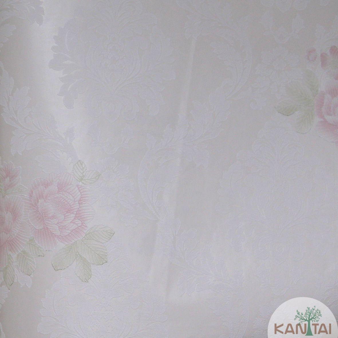 Papel de Parede Importado Kantai TNT Coleção Grace Floral Arabesco Bege claro, Off white, Vermelho, Verde, Baixo relevo